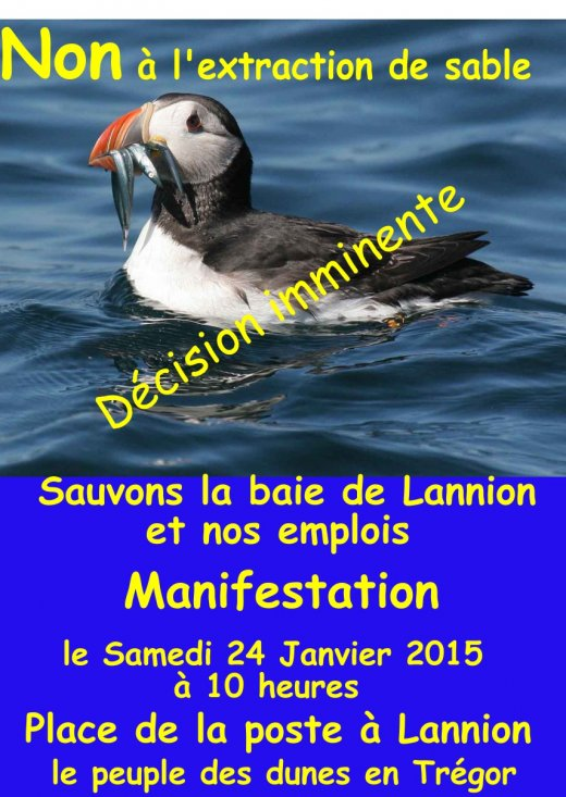 affiche manif extraction de sable baie de Lannion _
