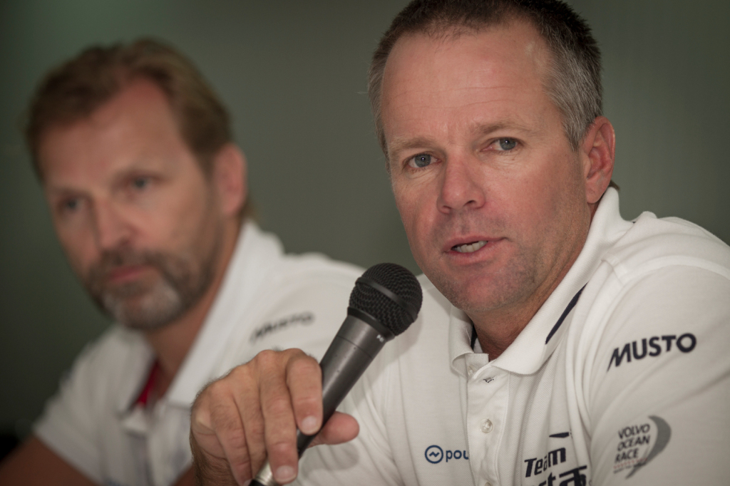 January 02, 2015. Team Vestas Wind conference call to inform media about the future of the team in Abu Dhabi. Chris Nicholson,Skipper Team Vestas Wind