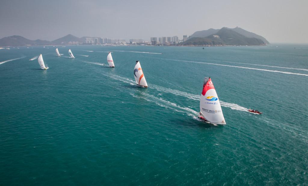 February 8, 2015. Leg 4 Start; The fleet