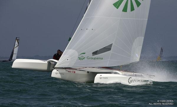 04/04/15- La Trinité Sur Mer (FRA). Spi Ouest France 2015. Trimaran Diam 24 Groupama. Pierre Pennec , Quentin Ponroy, Arnaud Jarlegan.