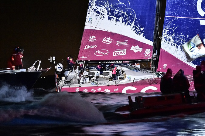 June 11, 2015. Team SCA wins Leg 8 from Lisbon to Lorient