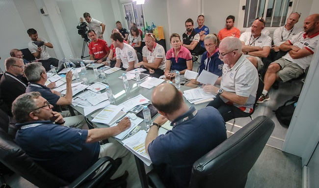 June 03, 2015. The ISAF Jury during the hearing to Team SCA, Dongfeng Race Team and MAPFRE.
