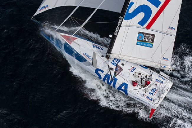 Skippers Paul Meilhat and Michel Desjoyeaux (Fra) training onboard IMOCA SMA before the start of the duo race Transat Jacques Vabre 2015, from Le Havre (France) to Itajai (Brazil), off Groix, south brittany on september 16, 2015 - Photo Jean Marie LIOT / DPPI / SMA