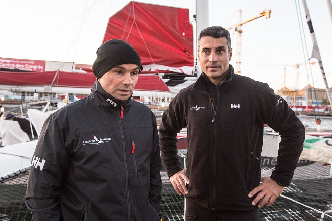 Multi 50 Fenetrea Prysmian, skippers Erwan Le Roux (FRA) and Giancarlo Pedote (ITA), during the Transat Jacques Vabre start on october 25, 2015 in Le Havre, France - Photo Jean Marie Liot / DPPI