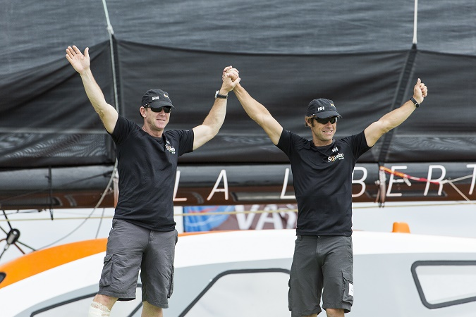 Ultime Sodebo UltimÕ, skippers Thomas Coville (FRA) and Jean Luc Nelias (FRA), 2nd of the Ultime category, during the Transat Jacques Vabre sailing race arrivals  on november 07, 2015 in Itajai, Brazil - Photo Jean Marie Liot / DPPI / SODEBO