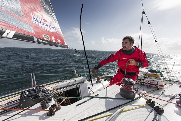 Jeremie Beyou, skipper Maitre Coq Class Figaro, sailing off Groix, south brittany, on may 18, 2015 - Photo Jean Marie Liot / DPPI / Maitre Coq