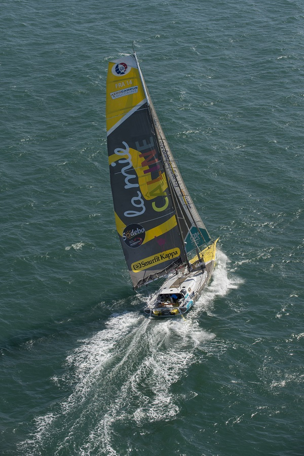 "Aerial image bank of the IMOCA boat ""LA MIE CALINE"", skipper Arnaud Boissieres, in La Rochelle, on august 09, 2016 - Photo Olivier Blanchet / La Mie Caline"