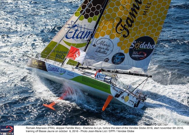 Romain Attanasio (FRA), skipper Famille Mary - Etamine du Lys, before the start of the Vendée Globe 2016, start november 6th 2016, training off Basse Jaune on october 6, 2016 - Photo Jean-Marie Liot / DPPI / Vendee Globe